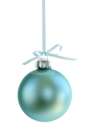 Christmas ornament stock photo, Green Christmas decoration hanging isolated on white by Elena Elisseeva