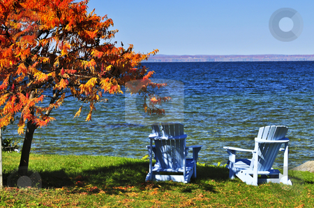 Wooden chairs on autumn lake stock photo, Wooden muskoka chairs under fall tree at lake by Elena Elisseeva
