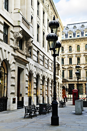 London street stock photo, Old buildings on pedestrian street in city of London by Elena Elisseeva