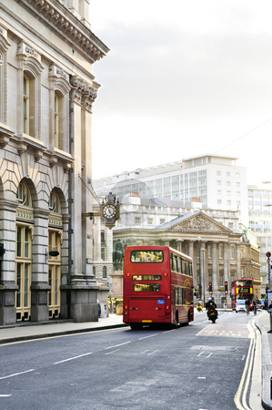 London street with view of Royal Exchange building stock photo, London street with view of Royal Exchange building by Elena Elisseeva