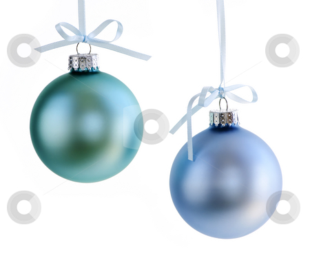 Christmas ornaments stock photo, Two Christmas decorations hanging isolated on white by Elena Elisseeva
