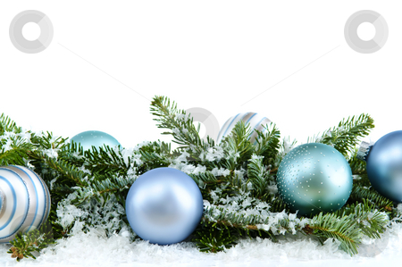 Christmas ornaments stock photo, Many Christmas decorations laying in pine branches and snow by Elena Elisseeva