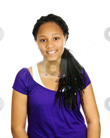 Teenage girl stock photo, Isolated portrait of beautiful black teenage girl by Elena Elisseeva