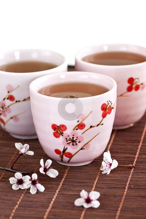 Green tea cups stock photo, Three teacups filled with japanese green tea by Elena Elisseeva