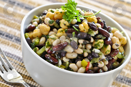Bean salad stock photo, Vegeterian salad of various beans in bowl close up by Elena Elisseeva