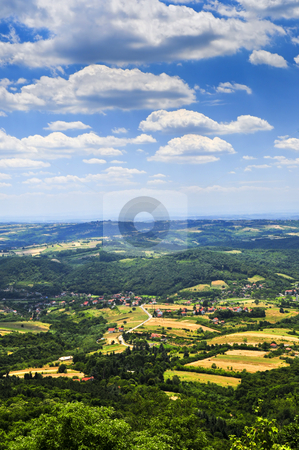 Serbian countryside stock photo, Landscape view of rural Serbian countryside with farms and towns by Elena Elisseeva
