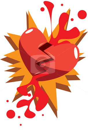 How Get Over A Broken Heart stock photo, An illustration of a heart that has broken into two after falling by Verapol Chaiyapin