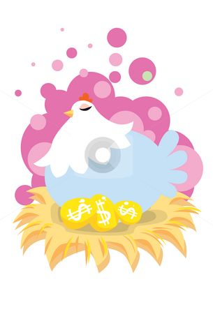 The Golden Eggs Can Be Yours! stock photo, An image of a hen sitting on a clutch of golden eggs with dollar sign by Verapol Chaiyapin