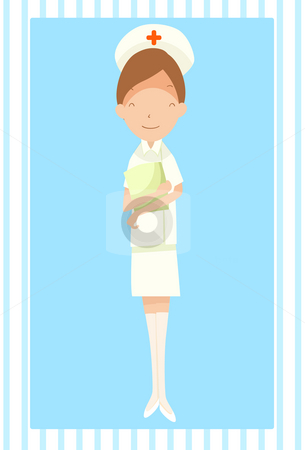 Caring and Nursing In A Hospital stock photo, An illustration of a nurse standing with a clipboard in here folded hands by Verapol Chaiyapin