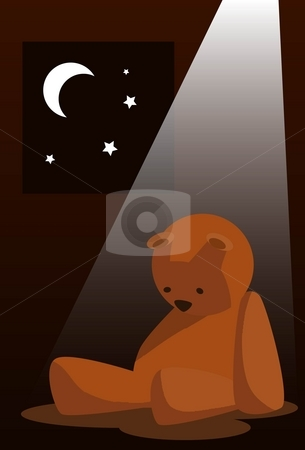 Sad Teddy bear stock photo, Image of sad teddy bear which is grieving under the moonlight by Verapol Chaiyapin