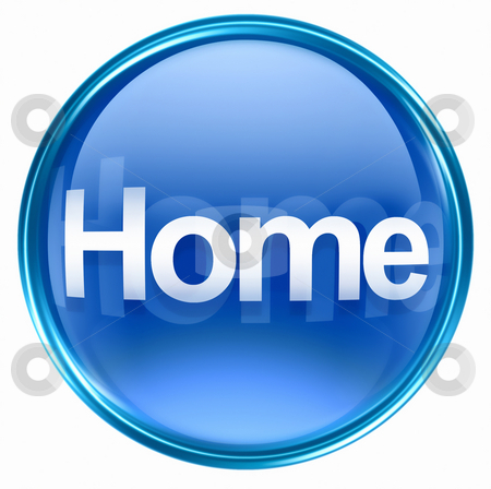Home icon blue, isolated on white background stock photo, Home icon blue, isolated on white background by Andrey Zyk