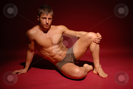 Male model stock photo, Muscled male model in studio by Andrei Vishnyakov