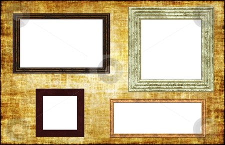 Photo Frames on a Grunge Wall stock photo, Herbs and Spices Cooking List Abstract Background by Kheng Ho Toh