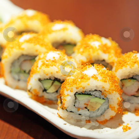 Sushi stock photo, Sushi California Maki Futomaki Serving As Meal by Kheng Ho Toh