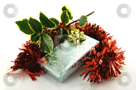 Gift with Holly and Tinsel stock photo, Single shiny silver wrapped gift with gold bow, green holly and red tinsel on a reflective white background by Keith Wilson
