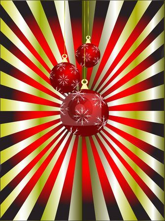 An abstract Christmas vector illustration with red baubles stock vector clipart, An abstract Christmas vector illustration with red baubles on a red and gold sunburst backdrop by Mike Price