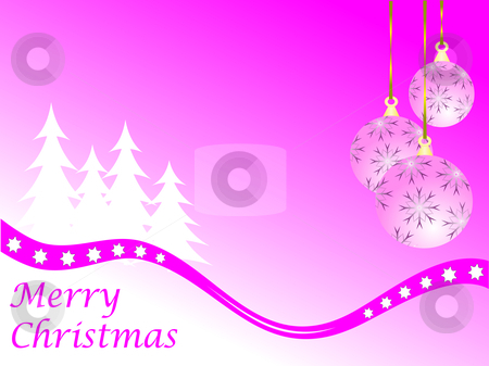 Pink Christmas Winter Scene stock vector clipart, An abstract Christmas vector illustration with  pink baubles on a darker backdrop with white trees and room for text by Mike Price