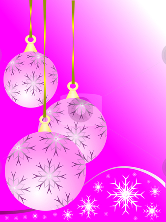 An abstract pink baubles Christmas vector illustration stock vector clipart, An abstract Christmas vector illustration with a pink baubles on a darker backdrop with white snowflakes and room for text by Mike Price