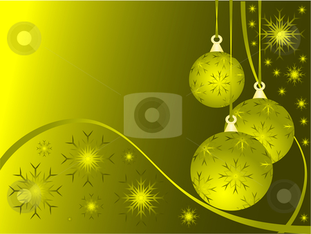 Abstract Gold Christmas Baubles Background stock vector clipart, An abstract Christmas vector illustration with gold baubles on a darker backdrop with snowflakes and room for text by Mike Price