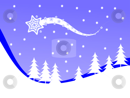 Christmas winter scene background stock vector clipart, A  winter vector background illustration with white trees on snowy hills with a blue evening sky with room for text by Mike Price