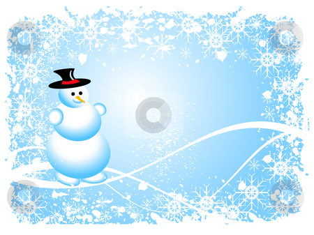 Grunge Snowman Christmas Scene stock vector clipart, A sky blue christmas scene with a snowman and swirls and snowflakes by Mike Price