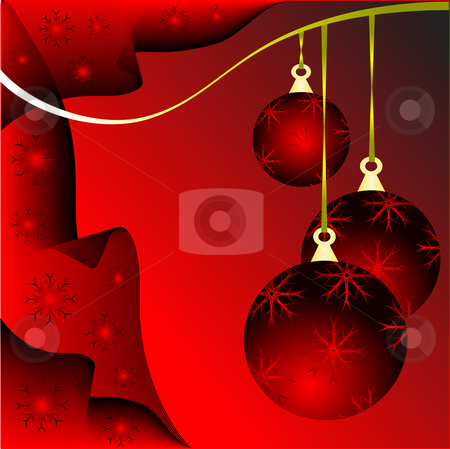 Red Christmas Baubles Illustration stock vector clipart, An abstract Christmas vector illustration with red baubles on a darker backdrop with white snowflakes and room for text by Mike Price