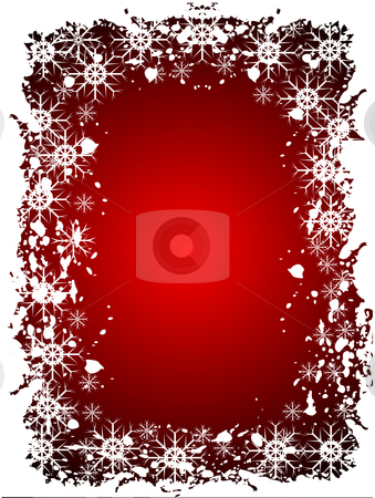 Red Christmas Grunge Background stock vector clipart, An abstract Christmas vector illustration with grunge snowflakes on a red background with room for text by Mike Price