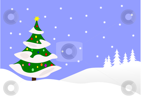 Blue winter Scene Christmas Background stock vector clipart, A  winter vector background illustration with a decorated christmas tree on snowy hills with a blue evening sky with room for text by Mike Price