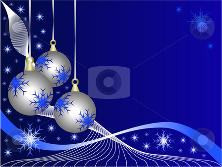 Blue Christmas Baubles Background stock vector clipart, An abstract Christmas vector illustration with  silver baubles on a darker backdrop with white snowflakes and room for text by Mike Price
