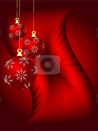 An abstract Christmas vector illustration with red baubles stock vector clipart, An abstract Christmas vector illustration with red baubles on a darker backdrop by Mike Price