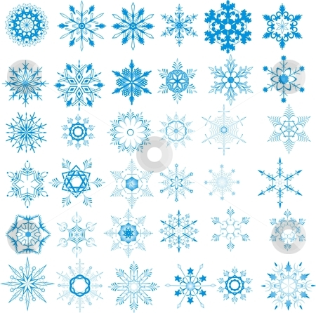 Christmas snowflakes stock vector clipart, Christmas snowflakes on white background by Rimantas Abromas