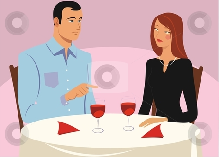 Couple in cafe stock vector clipart, Couple sitting in the restaurant by Rimantas Abromas
