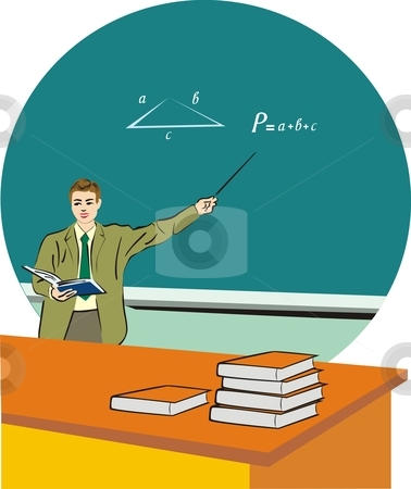 Teacher stock vector clipart, A man with book standing in front of a blackboard by Rimantas Abromas