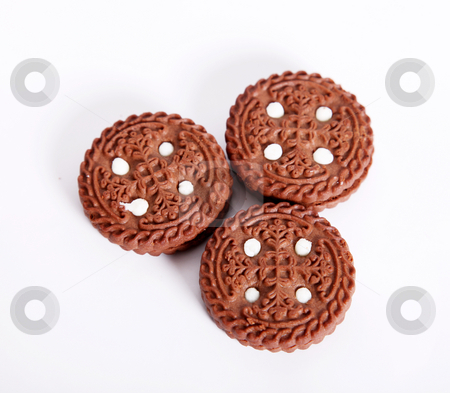 Cookies stock photo, Three chocolate chip cookies on a white background by Giuseppe Ramos