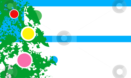 Christmas Ornaments stock vector clipart, Close up of a Christmas tree with multi-colored ornaments. by Jeffrey Thompson