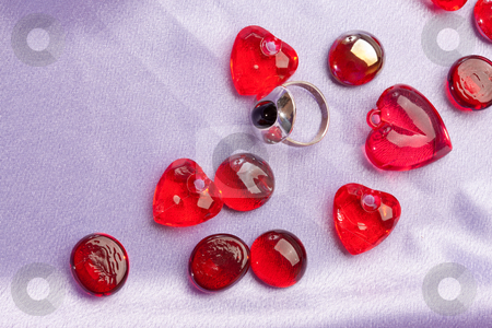 Ring and heart stock photo, Red decoration, ring and heart for valentine day by Gennady Kravetsky
