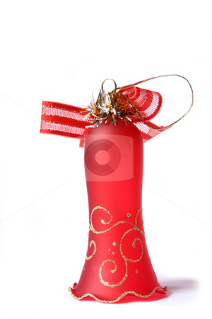 Christmas Bell stock photo, Red Christmas Bell. Isolated on white by Olga Lipatova