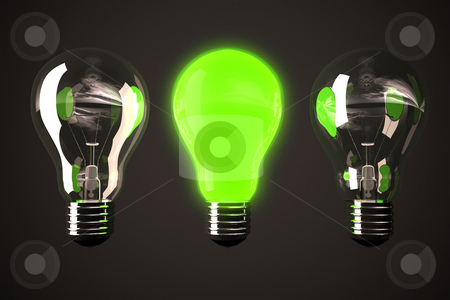 Green light bulb stock photo, Three bulbs with one glowing in middle by Peter Lecko