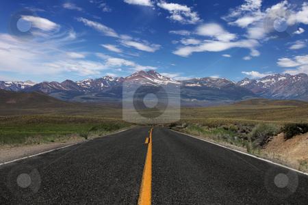 Rural Road in the Eastern Sierras stock photo, Wide Open Rural Road in the Eastern Sierras by Katrina Brown