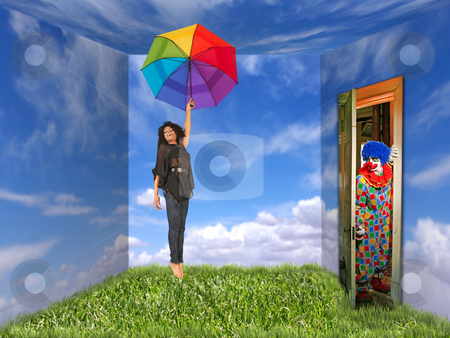 Woman and Clown in Landscape-Painted Room stock photo, A young woman holds a rainbow umbrella. She is in a room that is painted like an outdoor landscape and a clown is at the door. They are both full length viewable and looking away from the camera. Horizontally framed shot. by Katrina Brown