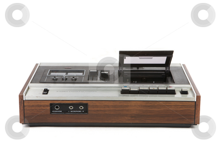 Top Low Angle View of Vintage Audio Cassette Player stock photo, Top Low Angle View of Vintage Audio Cassette Player on White Background by Katrina Brown