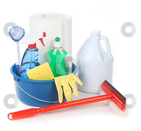 Cleaning Supplies for Around the House stock photo, Cleaning Supplies for Around the House Chores by Katrina Brown
