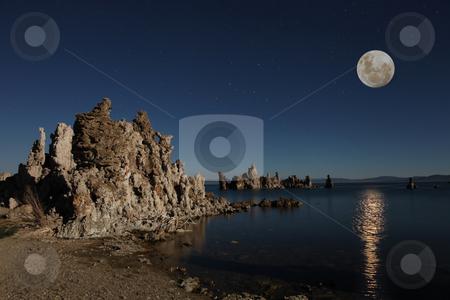 Mono Lake Tufas With the Moon stock photo, Mono Lake Tufas With the Moon at Night by Katrina Brown