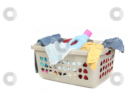 Basket Full of Dirty Laundry With Detergent stock photo, Basket Full of Dirty Laundry With Detergent Ready to Be Washed by Katrina Brown