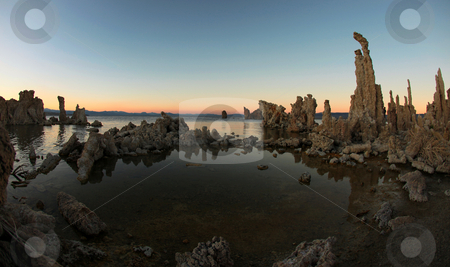 Mono Lake Tufas stock photo, Wide Angle Mono Lake Tufas by Katrina Brown