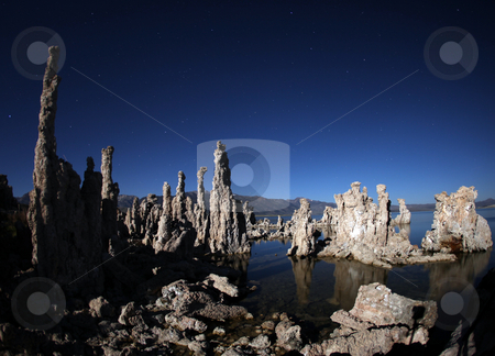 Tufas of Mono Lake Califonia stock photo, Tufas of Mono Lake Califonia at Night by Katrina Brown