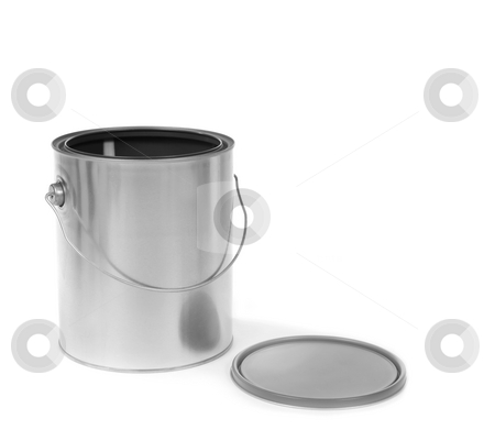 Silver tin paint can opened stock photo, Silver tin paint can opened on a white background by Katrina Brown
