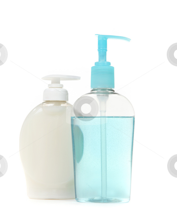 Colorful Bottles of Antibacterial Handwashing Soap stock photo, Colorful Antibacterial Handwashing Soap Isolated on White Background by Katrina Brown