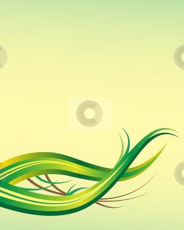 Leaf abstract background template with copy space stock vector clipart, Leaf abstract background template with ample copy space for text set on a green and yellow backdrop by toots77