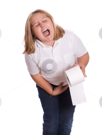Diarrhea stock photo, A young girl with diarrhea holding the toilet paper, isolated against a white background by Richard Nelson